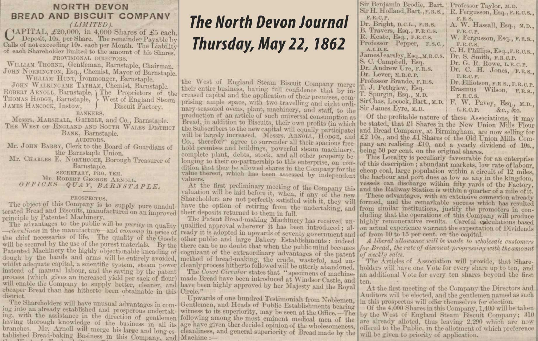 North Devon Bread & Biscuit Company Share Issue - North Devon Journal 1862